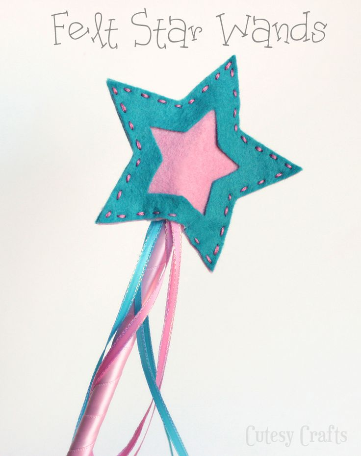 Cutesy Crafts: Felt Star Wands; cute easy project for the little princesses