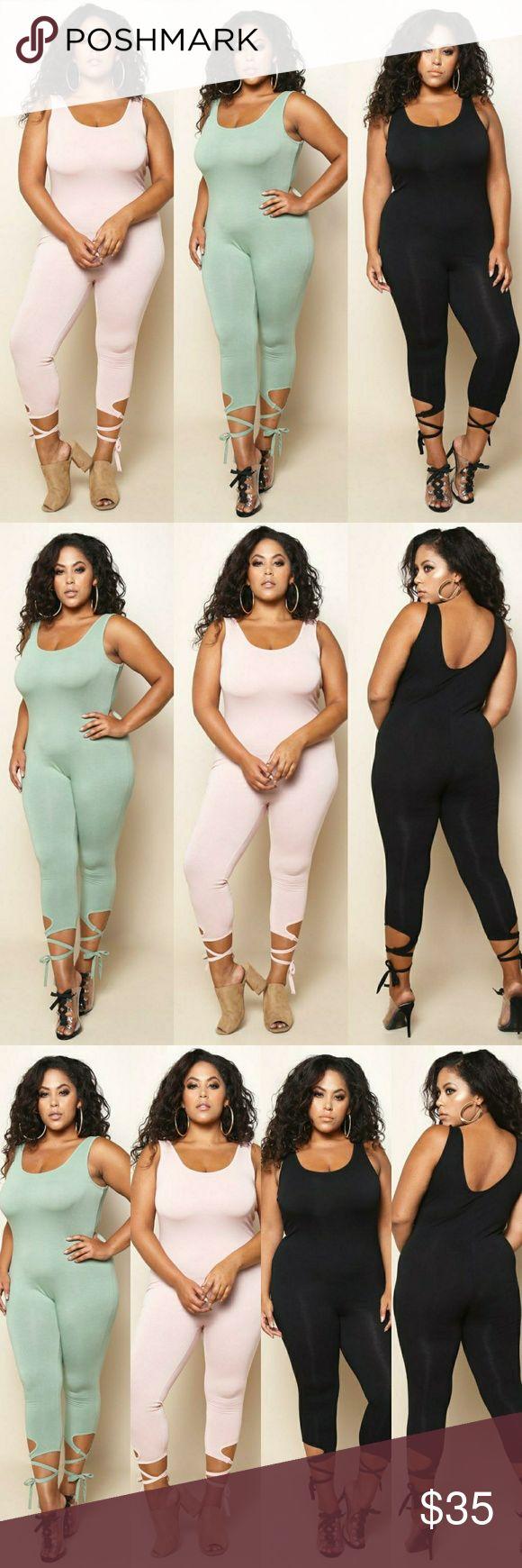 Plus Size Tie Bottom Detail Yoga Jumpsuit Plus Size Tie Bottom Detail Yoga Jumpsuit Fabric:?COTTON Content:?95%COTTON,5%SPANDEX  All Colors are available Black Pants Jumpsuits & Rompers