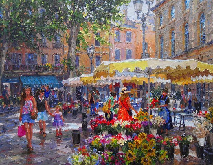 """©   Barbara Jaśkiewicz, """"A morning in Aix-en-Provence"""", palette knife oil on linen, size 57x73 cm."""