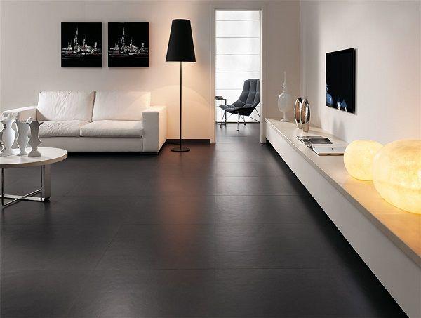 Black Tile Floor Livingroom