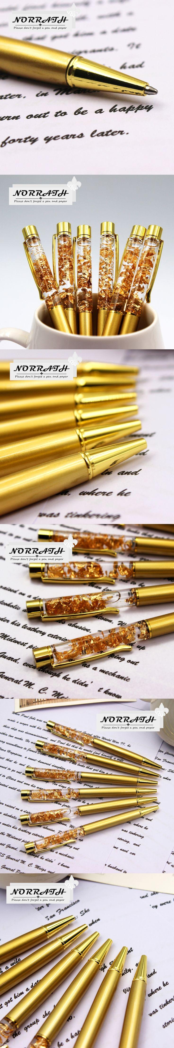NORRATH Stationery Metal Gold Foil Ballpoint Pen Luxury Pen Golden Ballpoint School Supplies Office Accessories Oily Refill 1.0