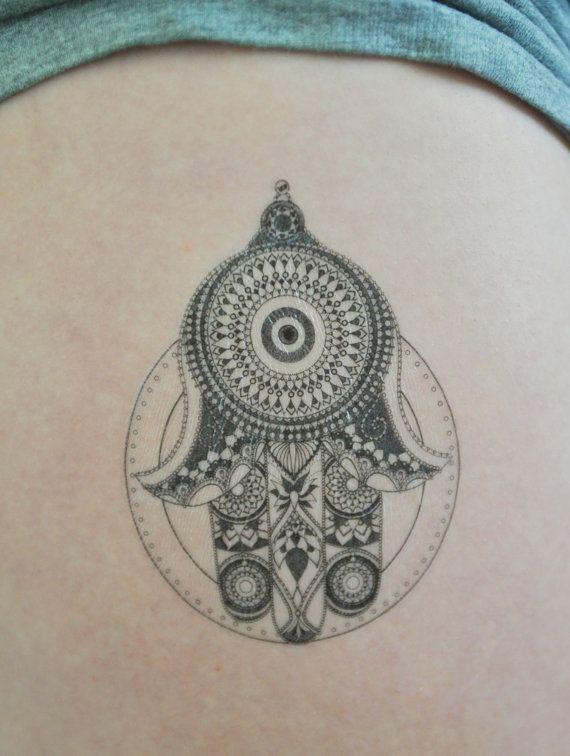 Hamsa Hand Tätowierung, Hand der Fatima-Illustration, große Tätowierung, Geburtstagsgeschenk, Geschenk Idee, spirituelle Kunst, Boho-Zubehör