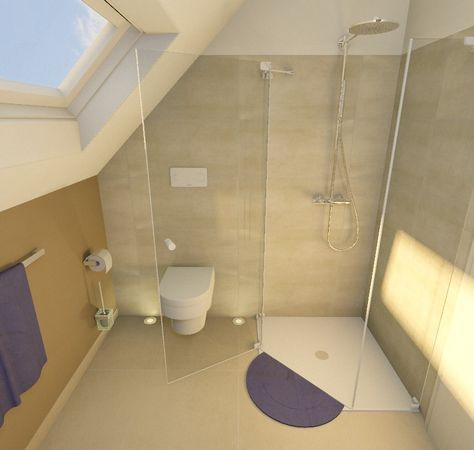 Sloping shower in the corner – Bad