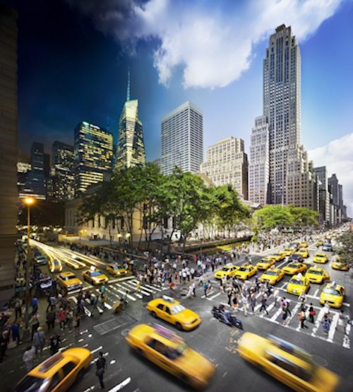 New York-based photographer Stephen Wilkes has created a series of intriguing photographs that depicts landmark locations—such as Times Square and Central Park in New York City—in transition from day to night.
