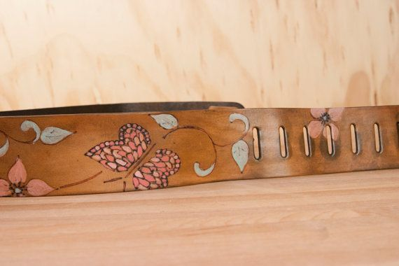 Sue Guitar Strap Leather with butterflies and by moxieandoliver