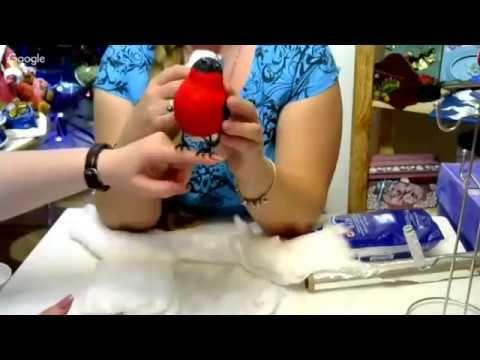 Снегирь из ваты МК Елены Васько - YouTube