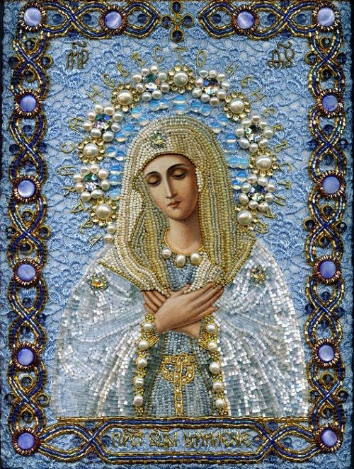 Maria Yantovskaya icons, she embroiders them with beads and gems, they are stunning