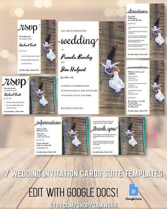 wedding invitation cards template set