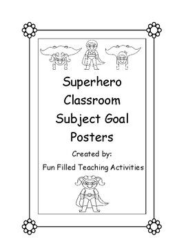 Our district requires teachers to post lesson goals for each subject we teach (Standards). I have a Superhero themed classroom so I created these to go along with the theme. You can use them any way you would like. Laminate them and use a dry erase marker