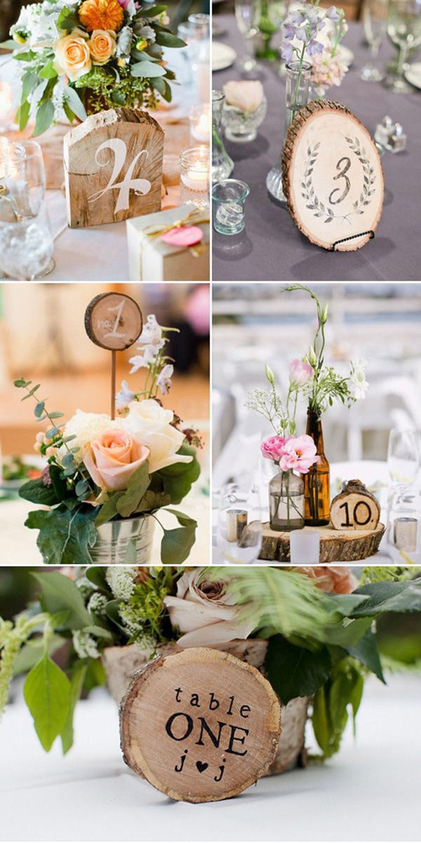 country rustic diy wedding table number ideas with trees