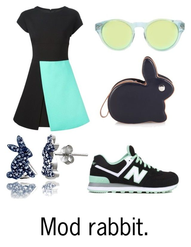 """Mod rabbit"" by lilithowl on Polyvore featuring FAUSTO PUGLISI, New Balance, Triple Graces, Hillier Bartley, DB Designs, Bunny, mint, Rabbit, colourblock and seafoam"