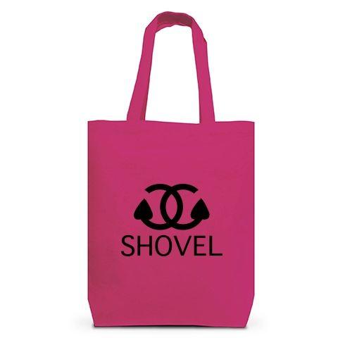 硬級ブランドシャベル トートバッグM(ホットピンク):シャネルのパロディですbyち畳工房:ちょっと笑えるパロディと猫がモチーフの商品です