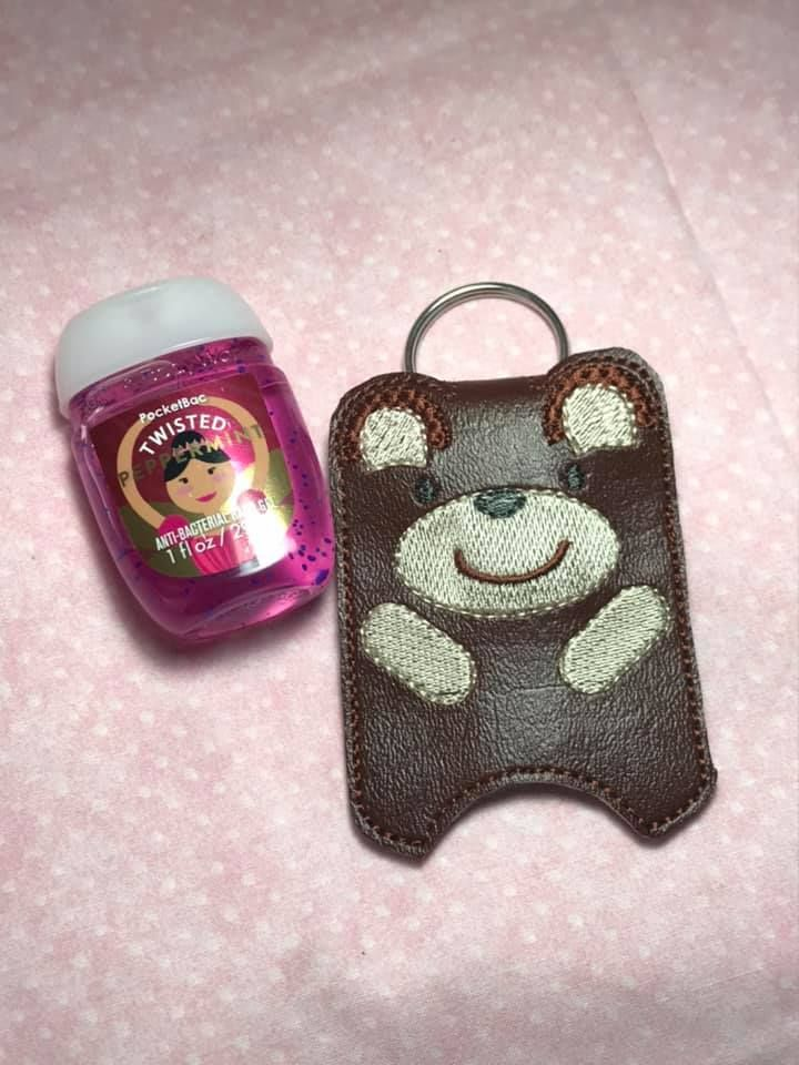 Teddy Bear Hand Sanitizer Holder Embroidery Design Hand
