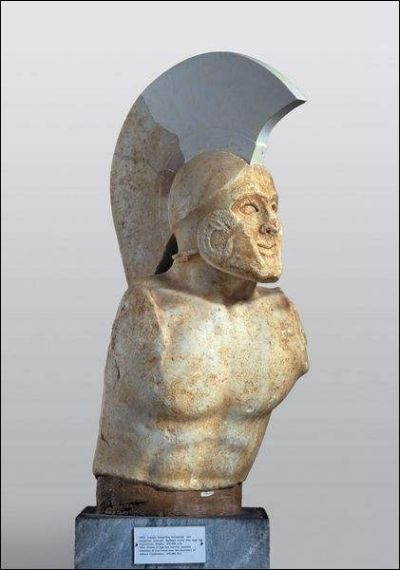 Marble bust of a Spartan warrior, thought by some to be that of Leonidas, infamous king who held the pass at Thermopylae. When Xerxes requested them to lay down their arms and surrender, he replied 'Molon labe' - 'come and take them'.