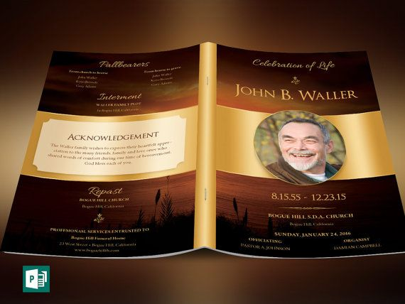 "Sunset Funeral Program Publisher Template is created in Microsoft Publisher for a modern memorial or home going service. It's gold decals and text style laid over a sunset background will honor and dignify your loved ones. A great keepsake program. This template is a Microsoft Publisher template designed by Godserv to be edited with Microsoft Publisher 7 and higher. Once you have downloaded this template, use Microsoft Publisher to make edits.  What's Included - 1– 11x8.5"" Sunset Funeral…"