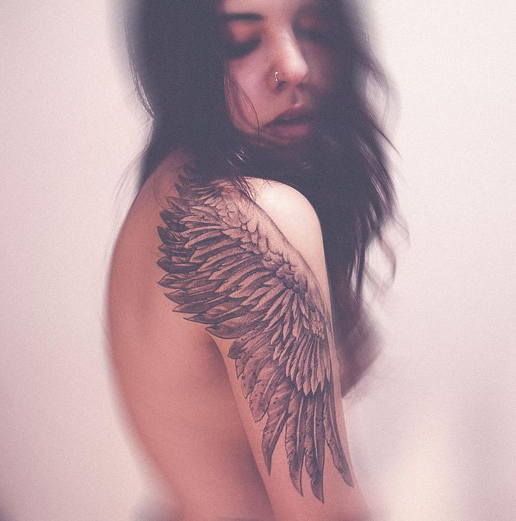 Bird Wing Tattoo On Shoulder|I actually like this idea better than the original wings on the back idea