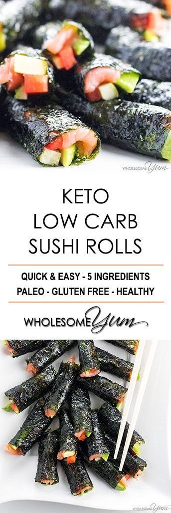 Keto Low Carb Sushi Rolls Recipe without Rice (Healthy) - 5 Ingredients - The best low carb keto sushi recipe needs only 5 ingredients and 15 minutes! Just use this easy method for how to make sushi without rice. #lowcarbsushi #ketorecipes