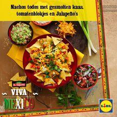 Recept voor Nachos todos met gesmolten kaas, tomatenblokjes en jalapeño's #Mexico #Lidl #Nachos