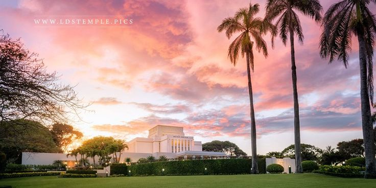 Laie Temple Sunset Panoramic - A classic Hawaiian sunset at the Laie Hawaii Temple.