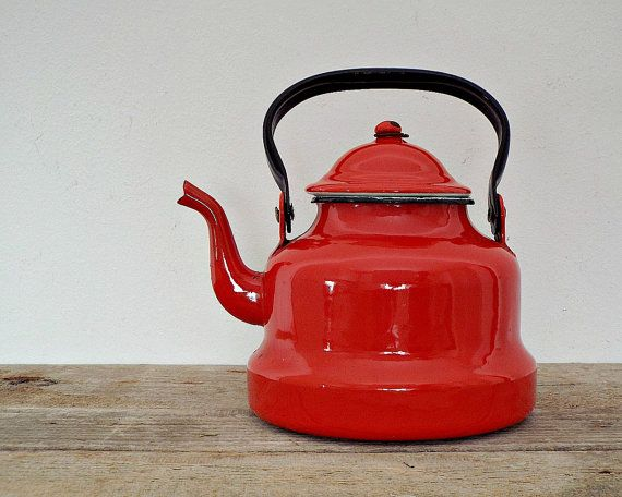 ENAMEL COFFEE or TEA pot - vintage red rustic coffeepot teapot kettle, enamelware, camping pitcher, kitchenware, retro home decoration