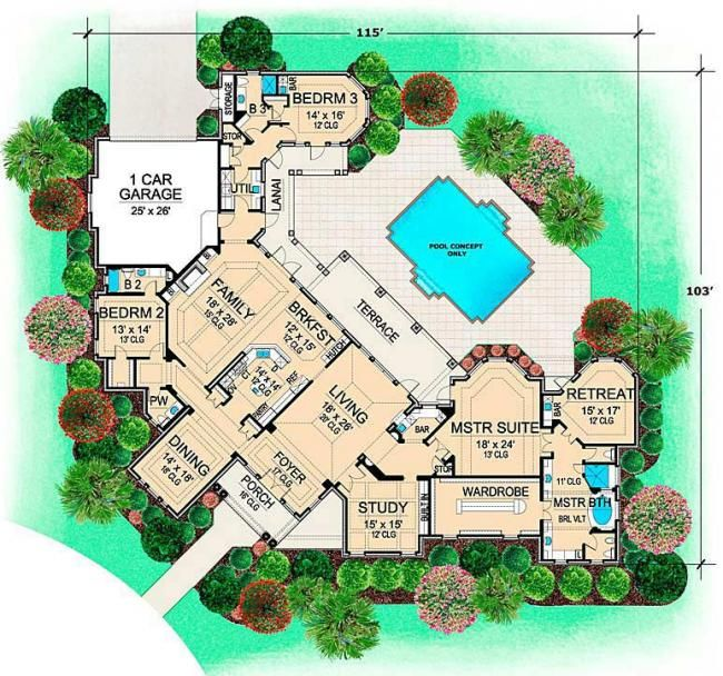 villa rica ranch floor plans luxury floor plans - Dream House Plans