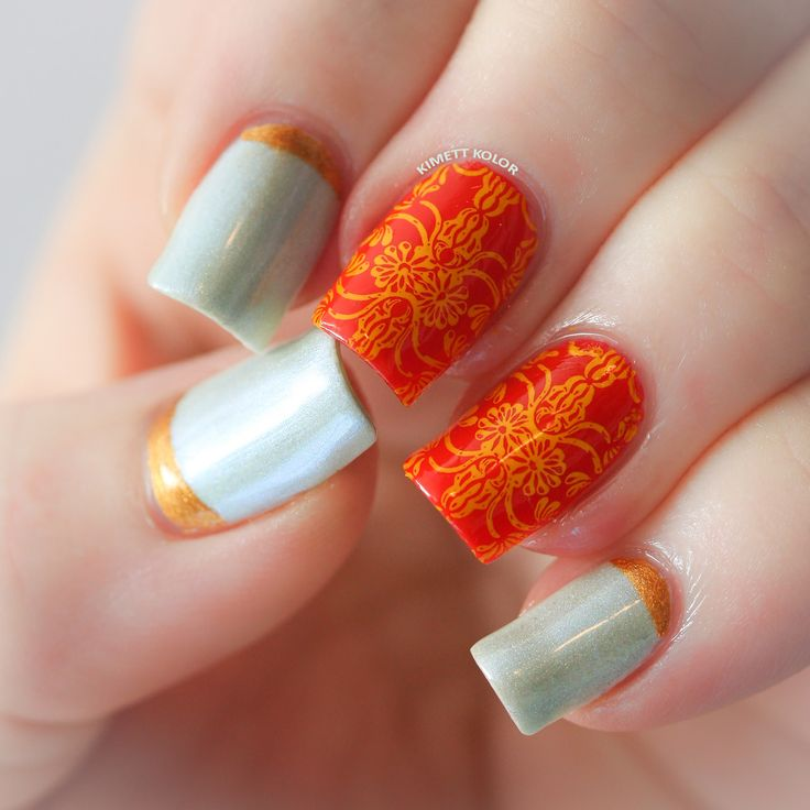 Opal and Marigold October Nail Art by KimettKolor