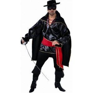 Déguisement bandit noir homme deluxe style zorro, western, zorro, carnaval, Halloween, fêtes