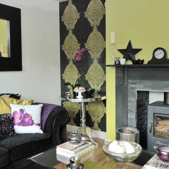 Lime green and black patterned living room - very different