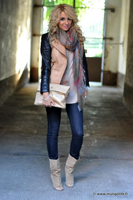 Farkut / jeans, ONLY Saappaat / boots, ALDO Moscow Takki / jacket, Zara Huivi / scarf, Mulberry Laukku / bag, Tory Burch Toppi / top, H