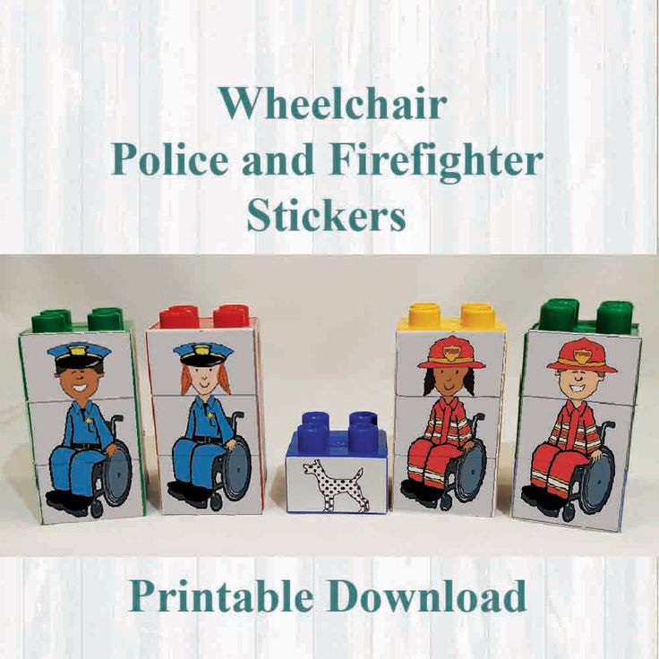 Wheelchair Firefighter and Police Stickers,Fridge magnets, Building blocks. Fits on Lego, Instant digital download Printable by MoonGloCreations on Etsy