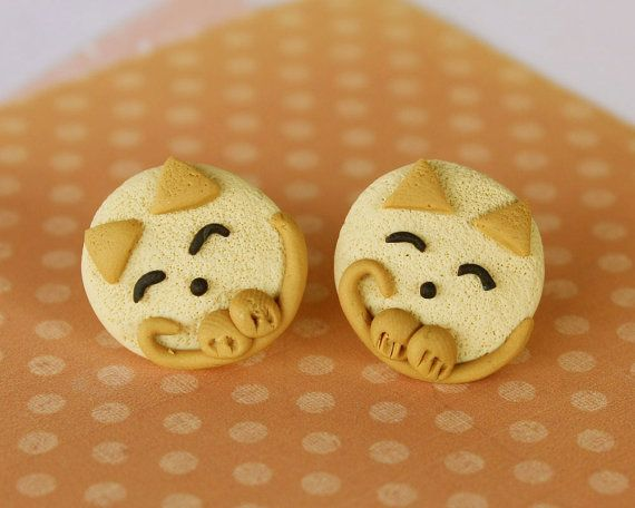 Tinky cat post earrings beige and caramel combo by TinkyPinky