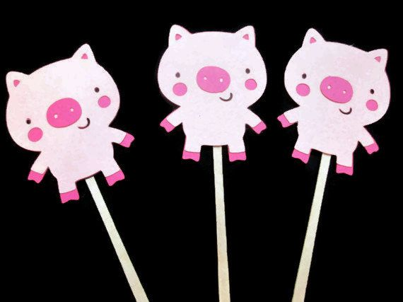 Set of 12 Pig Cupcake Toppers - On The Farm, Pig Birthdays, Pig themed parties, Farm Parties, Little Miss Piggy Cupcake Toppers,Girl Farm on Etsy, $10.25