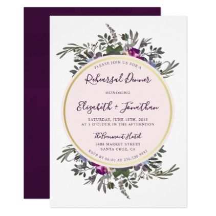 Anemone & Rose Wreath | Floral Rehearsal Dinner Card - invitations personalize custom special event invitation idea style party card cards