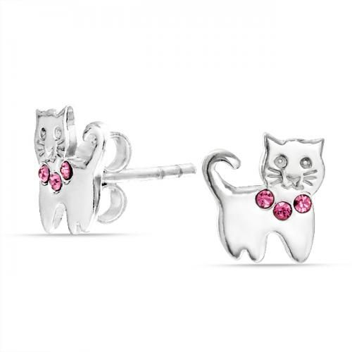 Curled Cat Tail Stud Earrings Pink Topaz Color Kids 925 Silver