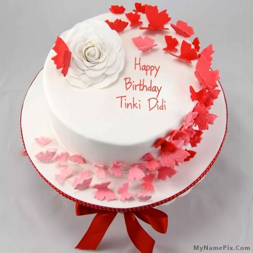 The Name Tinki Didi Is Generated On Butterflies Birthday Cake With