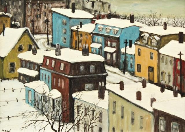 """""""Winter in St. John's Newfoundland,"""" John Kasyn, 1979, oil on Lucite on board, 11 x 15"""", private collection."""