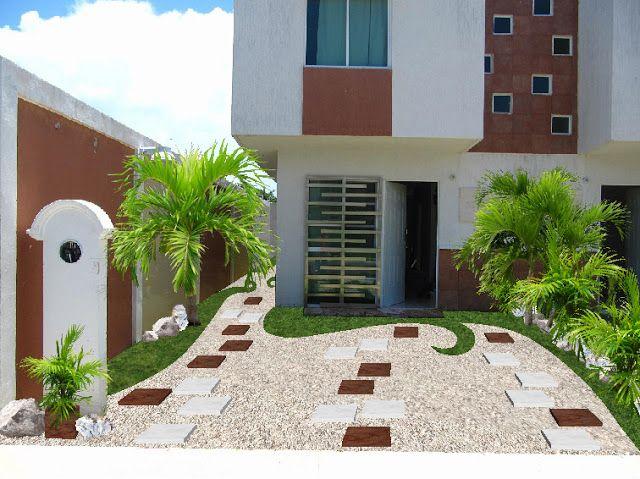 diseño jardín minimalista para fachada con pasto y losetas