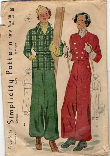 Simplicity 1819 : Misses' and Women's Ski Suit    circa 1930s