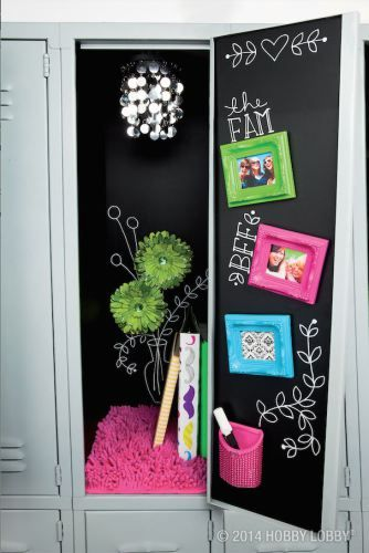 DIY black chalkboard themed locker decor, DIY locker decorations, DIY locker…