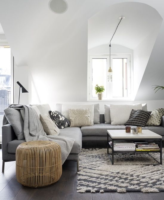 grey and white lounge room