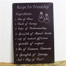 Emaljeskilt Recipe for friendship - NiceWall.dk