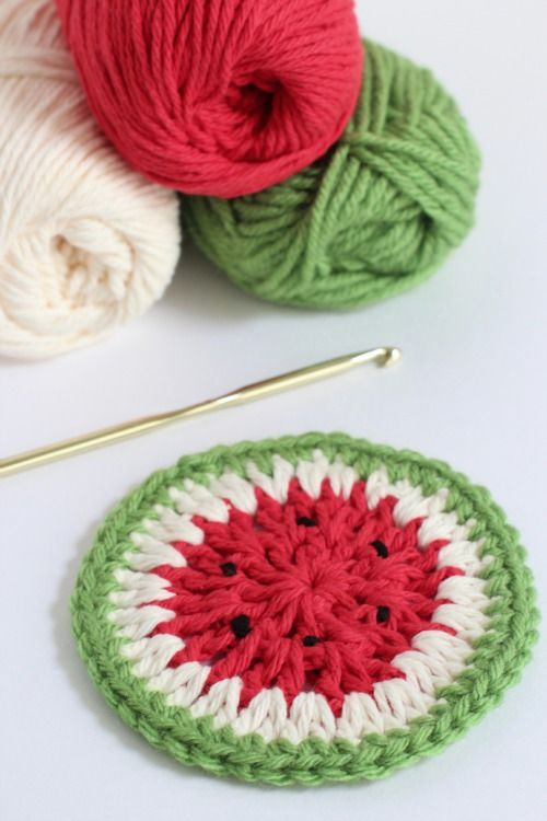 It's fun to crochet watermelon coasters to add to the summer mix and use as you sip on our lemonade.