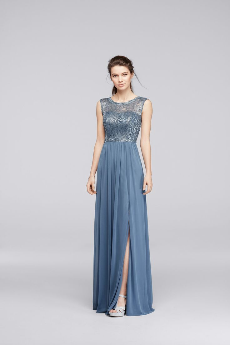 201 best blue wedding images on pinterest davids bridal wedding long steel blue metallic bridesmaid dress with lace bodice from davids bridal ombrellifo Choice Image