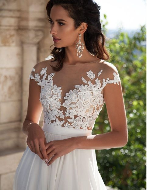 435e72d3ecd A-Line Chiffon Beach Wedding Dresses 2019 Sheer Neck Lace Appliques Cap  Sleeves Thigh-High Split Bridal Gowns sold by ziassa. Shop more products  from ziassa ...