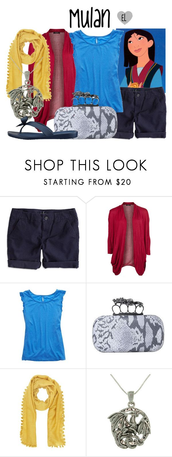 """Mulan (Summertime) -- Mulan"" by evil-laugh ❤ liked on Polyvore featuring Disney, American Eagle Outfitters, VILA, Jigsaw, Carolina Glamour Collection, GUESS, disney and mulan"