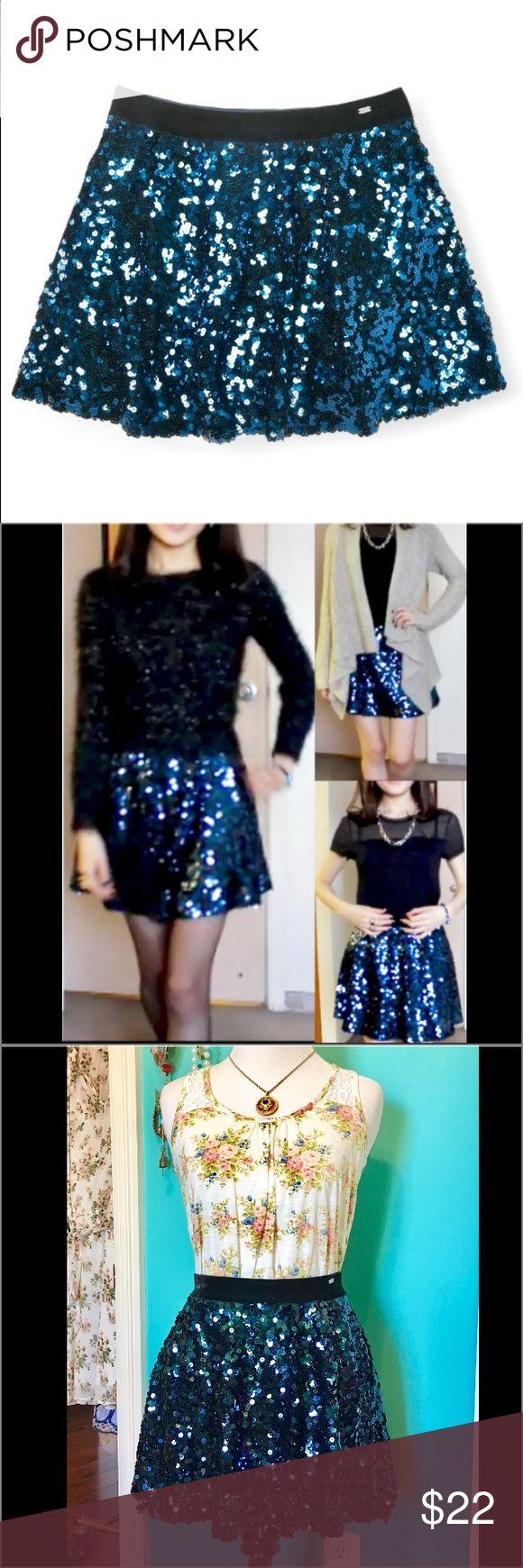 "✨Forever Blue Sequin Skater Mini Skirt✨ Adorable Little Skater Style Mini Skirt in Gorgeous Blue Sequins! Super Fun item to any Closet! Black ""Velvet"" Elastic waist- Easy to Wear. Fully Lined. There are 2 areas where the Hem is no longer intact, It's not really noticeable on, and it can be easily fixed with a small amount of stitching~ I personally don't want to do it~ Hence my reason for selling it. See Last pic (#7). Otherwise it Looks Amazing!!   Waist 13.5- 14 inches. Length 14 inches…"