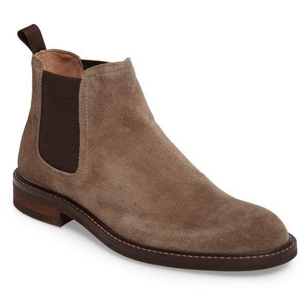 Men's 1901 'Horton' Chelsea Boot ($125) ❤ liked on Polyvore featuring men's fashion, men's shoes, men's boots, taupe suede, mens chelsea boots, mens shoes, mens beatle boots, mens leather shoes and mens leather chelsea boots