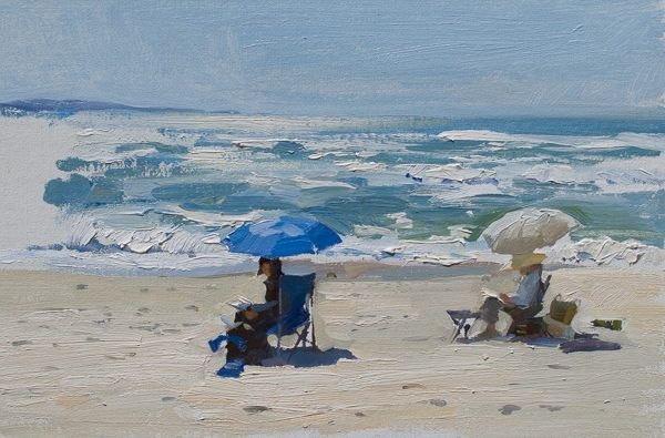 Plein air oil painting of watercolorists on a beach in Marina, California Central Coast.
