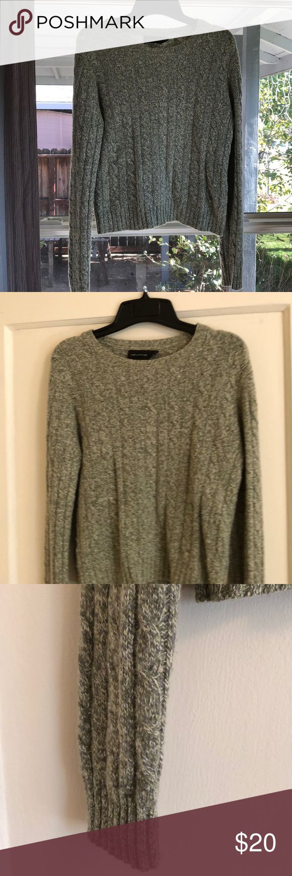 Limited Brand Heathered Sage Green Sweater Very good, gently used condition. Gorgeous sage green color! Wool blend (which only works for about a week in Northern California). Adorable with jeans! The Limited Sweaters Crew & Scoop Necks