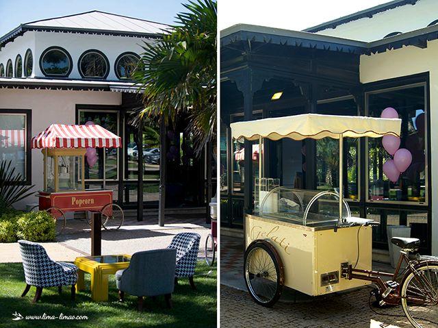 The popcorn and ice cream carts.